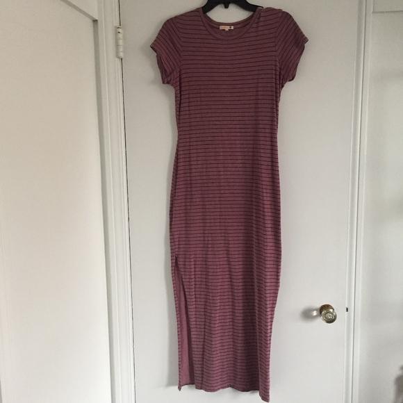 59702ef9b35ae6 Sundry Dresses | Slit Maxi Dress Pink Stripe Euc | Poshmark